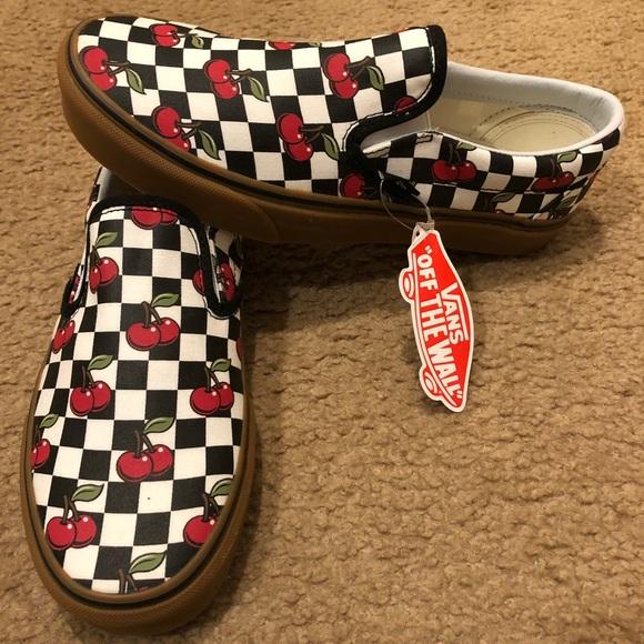 6b097922af Van Cherry Checker Classic Slip On
